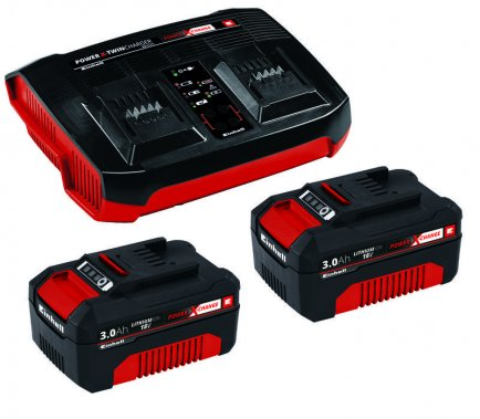 Baterie a nabíječka Power X-Change 2x 3,0 Ah & Twincharger Kit Einhell